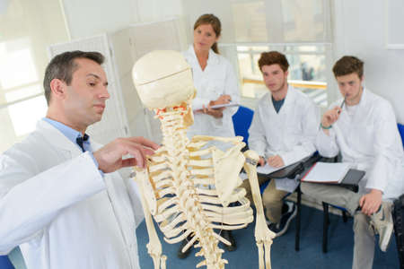student and teacher in medical class - skeletal system
