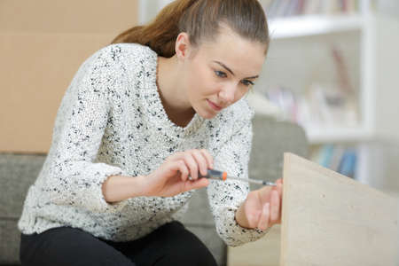 young woman assembling furniture at home Stockfoto