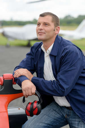 a mechanic in an airfield