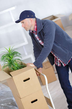 man pushing stack of moving boxes on hand truck Stockfoto