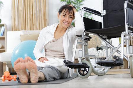 a mature woman doing rehabilitation Stock Photo