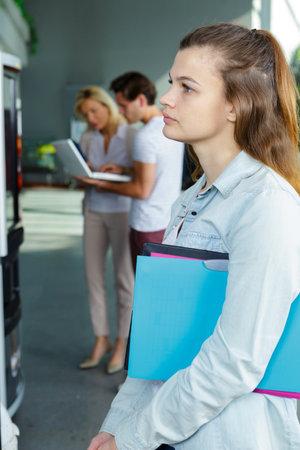 apprenticeship female student waiting for her turn Stock fotó