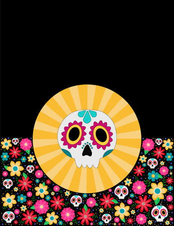 Mexican party invitation day of the dead Çizim