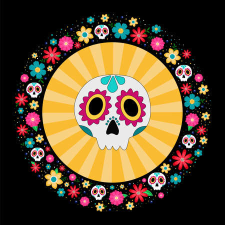 colorful sugar skull for mexican party day of the dead