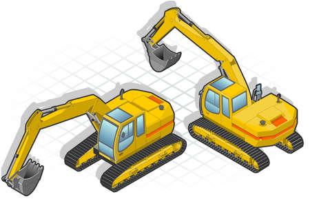 Isometric excavator Stock Vector - 9823473
