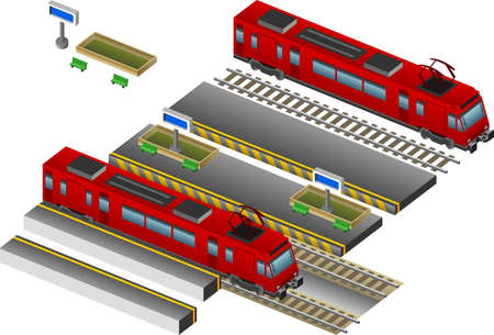 subway platform: Isometric Red Train with station