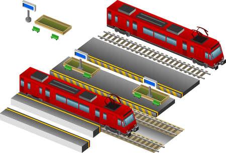 estación del metro: Tren Rojo isom�trica con la estaci�n