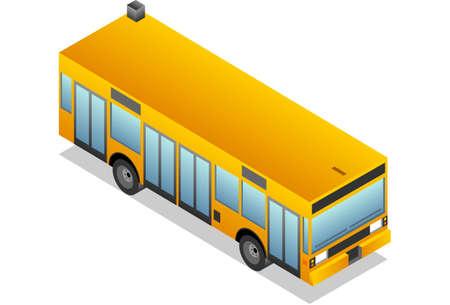 Isometric yellow bus Stock Vector - 9935205