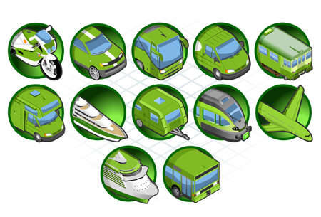 caravan: Isometric green icon