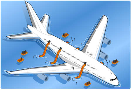 Isometric plane crash, ditched Stock Vector - 10024217
