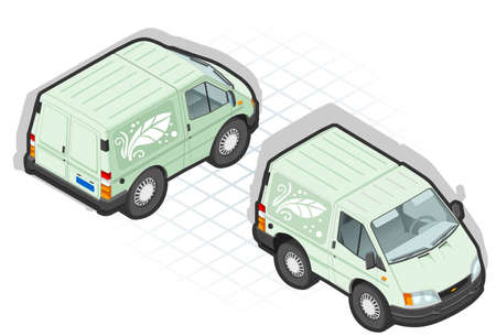 rear wheel: Isometric cartoon green van