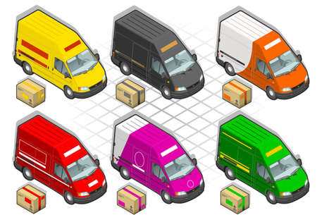 isometric delivery van  Stock Vector - 10356493