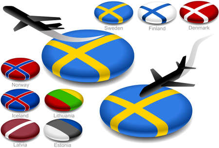 estonia: aircraft takeoff and landing on the button flag