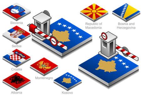 albanie: ferm� les douanes sur le drapeau du bouton des pays des Balkans Illustration