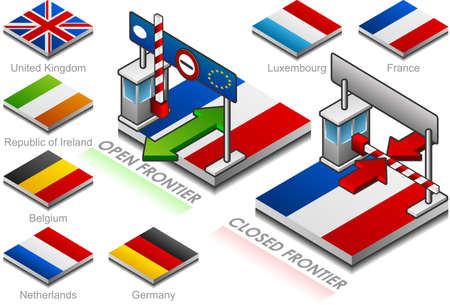 northern european: frontier open and closed on the button flag of northern european country Illustration