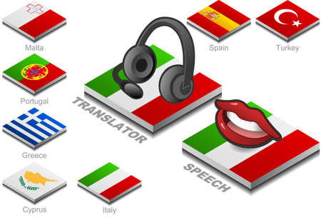 translator: headphones and mouth on the button flag of south europe country