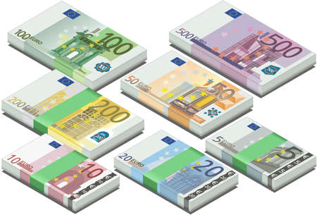 euro banknote: isometric full set of euro banknotes