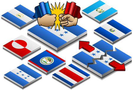 el salvador: isometric representation of secession and internal clashes on button flag