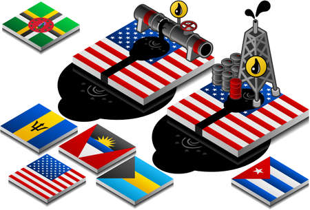 barbados: isometric representation of oil disaster and pollution on button flag