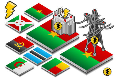 angola: isometric representation of storage and transportation of energy on button flag