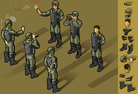 isométrica: isometric set of military people standing in some position