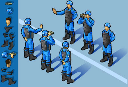 onu: isometric set of military peacekeepers standing in some positions Illustration