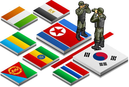 north korea: isometric representation of militarized border with military observer on button flag Illustration