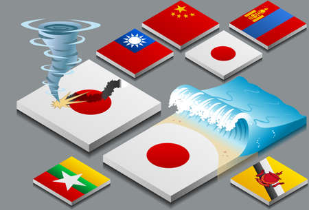 natural disaster: isometric representation of natural disaster, tzunami and typhon, on button flag Illustration