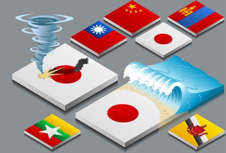 Rappresentazione isometrica di disastri naturali, Tzunami e Tifone, sulla bandiera pulsante Vettoriali