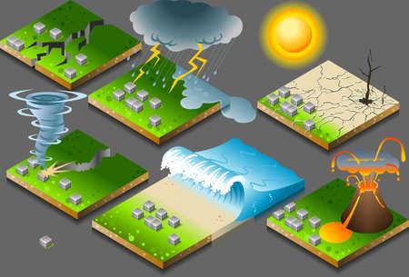 katastrophe: isometrische Darstellung von Naturkatastrophen auf die Schaltfl�che Flagge Illustration