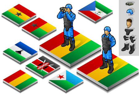 onu: isometric representation of international military observer on button flag