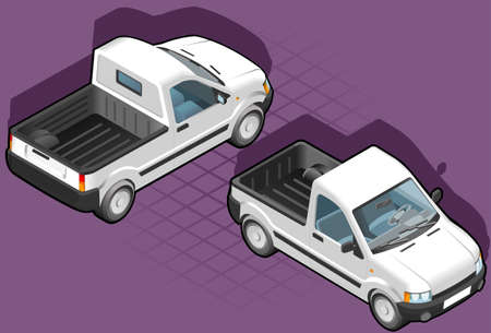 isometric pick up in two position Vector