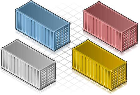 isometrische Container in verschiedenen Farben
