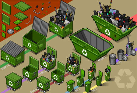 isometric set of garbage container Vector