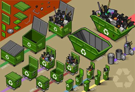 isom�trique: jeu isom�trique de poubelle Illustration
