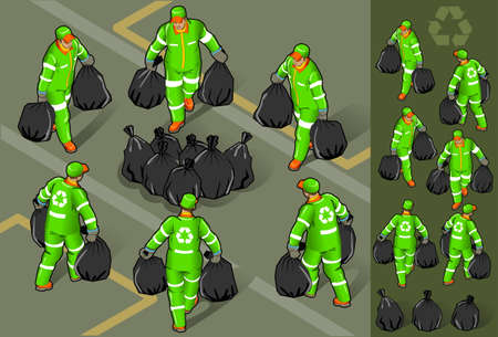 rubbish bin: isometric set of garbage man in six position