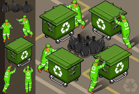 isom�trique: ensemble isom�trique de l'homme des ordures dans quatre positions