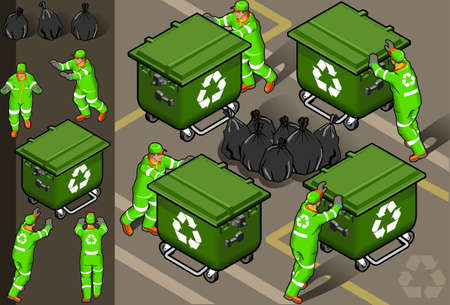 rubbish bin: isometric set of garbage man in four position