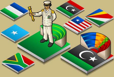 dictature: repr�sentation isom�trique de la dictature ou d�mocratie, sur le drapeau bouton Illustration