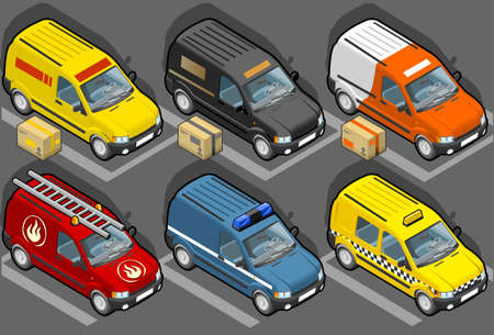 isométrica: isometric van in six models, delivery, firefighters, police, taxi