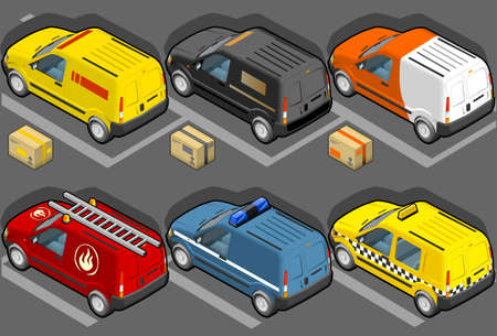 motor transport: isometric van in six models, delivery, firefighters, police, taxi