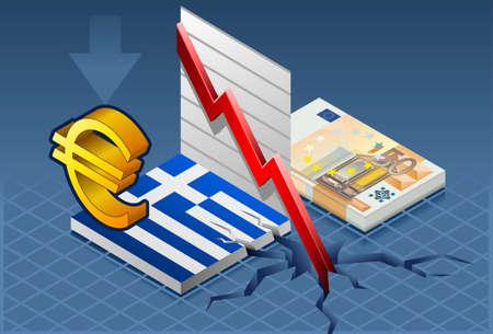 isometric greece crisis Illusztráció