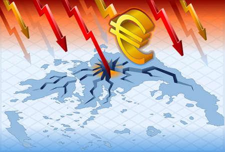 isometric greece crisis in geographic map Illusztráció