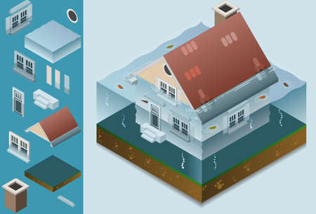 isometric flooded house Vector