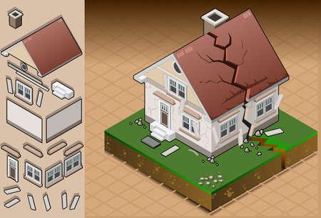 evacuatie: gedetailleerde illustratie van een huis getroffen door aardbeving. volledig gelaagd  gegroepeerd