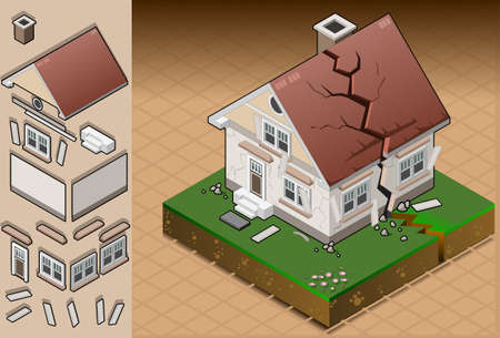 evacuacion: ilustración detallada de una casa afectada por un terremoto. totalmente en capas  agrupar Vectores