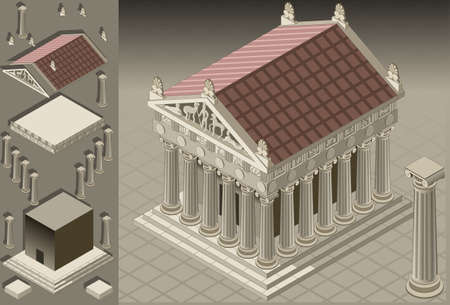 isométrica: detailed illustration of a greek temple in the ionian style. fully layeredgrouped