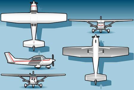 avion caricatura: ilustraci�n detallada de un plano ortogonal blanco en quinta posici�n. totalmente en capas  agrupados AI8 eps8 Vectores