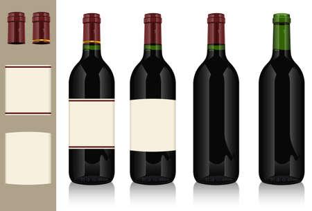 Four wine bottles Stock Vector - 11551956
