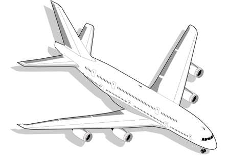 Isometric Boeing in white with four engine Vector